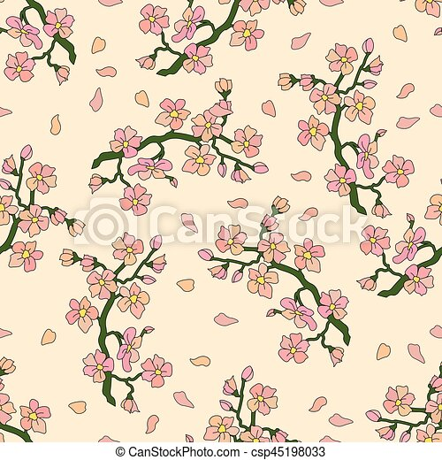 Seamless pattern with branch of cherry blossoms. - csp45198033