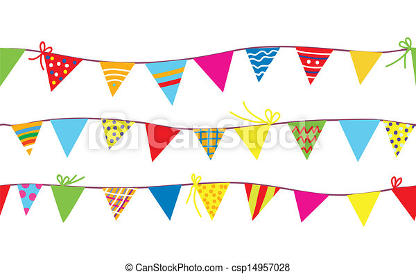 Seamless Pattern With Bunting Flags For Kids Vector