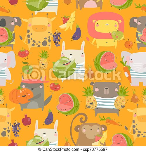 Seamless pattern with cartoon animals holding fruits and vegetables on orange background - csp70775597