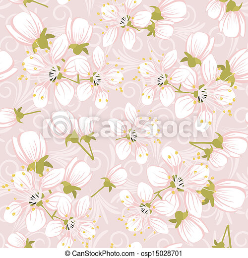 Seamless pattern with cherry blossoms - csp15028701