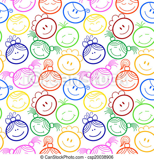 Seamless pattern with children's faces - csp20038906