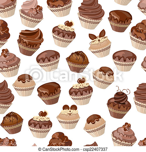 Seamless pattern with chocolate cupcakes - csp22407337