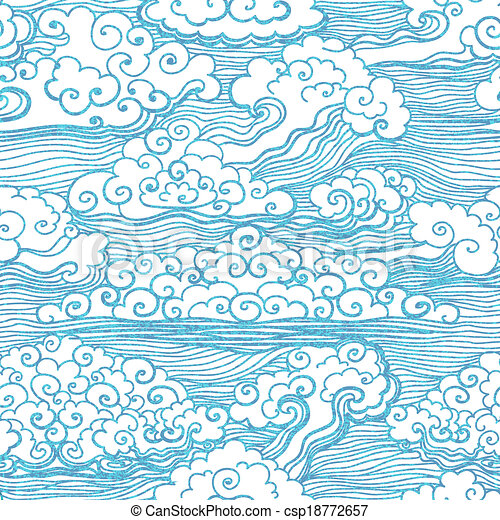 Seamless pattern with clouds. Vector, EPS 10 - csp18772657