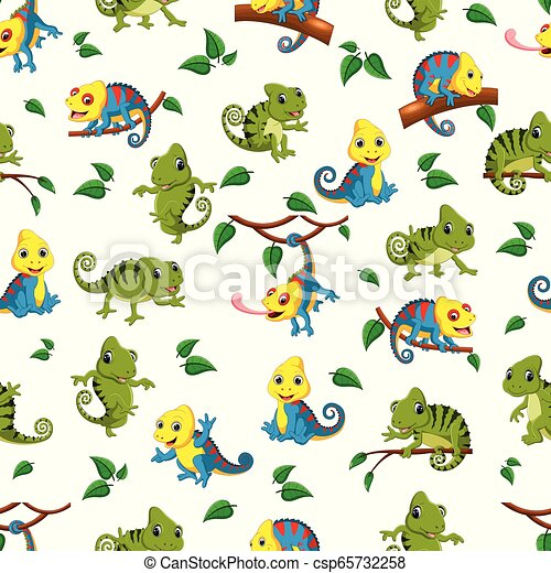 Seamless pattern with collection of the chameleon - csp65732258