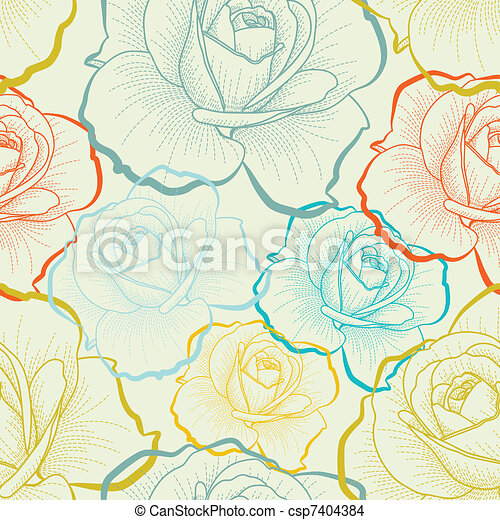 Seamless pattern with color hand drawing roses - csp7404384