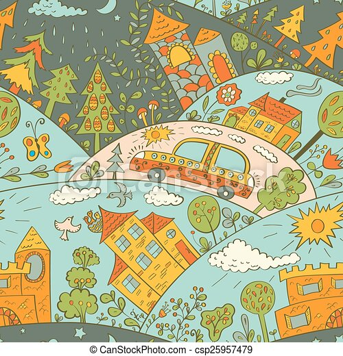 Seamless pattern with colored houses - csp25957479