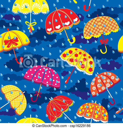seamless pattern with colorful umbrellas, clouds and rain drops on blue sky background. - csp16229186