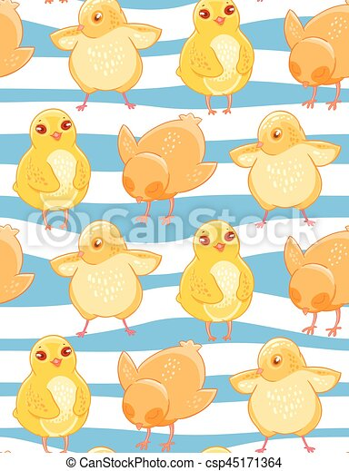 Seamless Pattern With Cute Cartoon Yellow Chicken Blue And White Striped Background