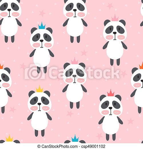 Seamless pattern with cute cartoon little panda children vector seamless pattern with cute cartoon little panda children background cartoon baby animals design voltagebd Image collections