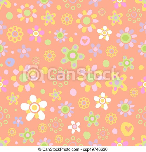 Seamless pattern with cute flowers. - csp49746630