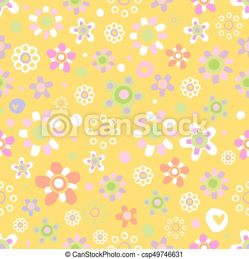 Seamless pattern with cute flowers. - csp49746631