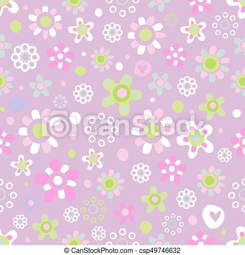 Seamless pattern with cute flowers. - csp49746632