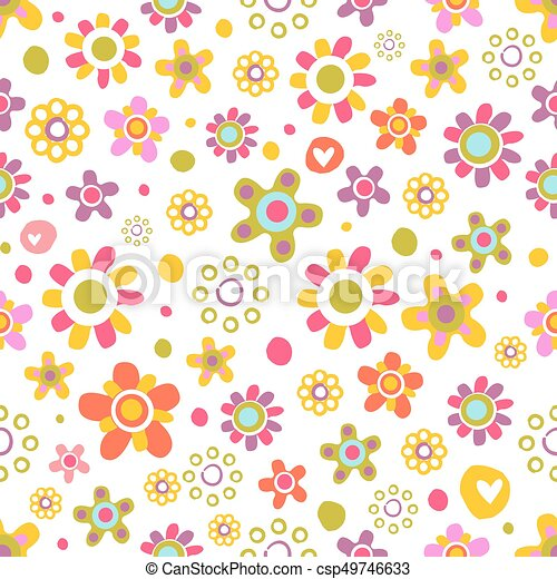 Seamless pattern with cute flowers. - csp49746633