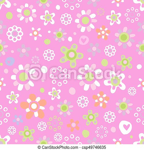 Seamless pattern with cute flowers. - csp49746635