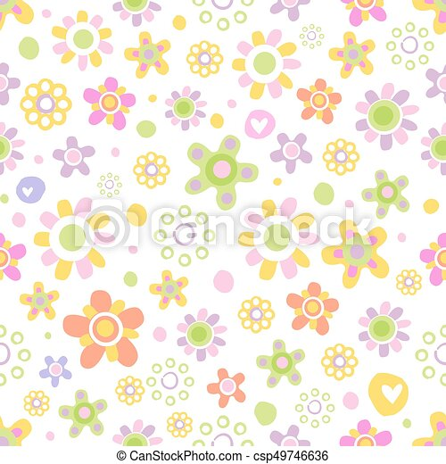 Seamless pattern with cute flowers. - csp49746636
