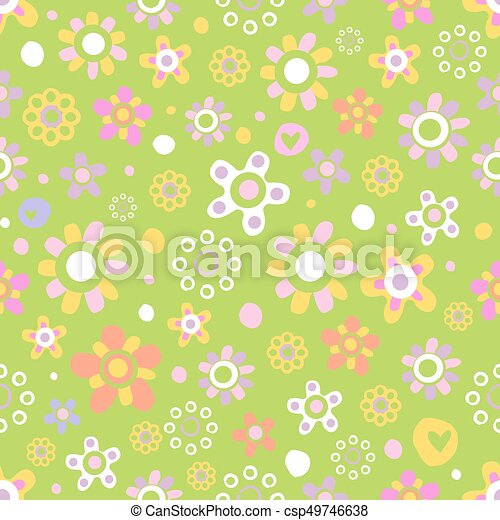 Seamless pattern with cute flowers. - csp49746638