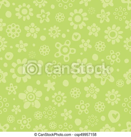 Seamless pattern with cute flowers in green monochrome colors on green background. - csp49957158