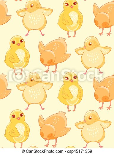Seamless Pattern With Cute Hand Drawn Chicken On A Beige Background