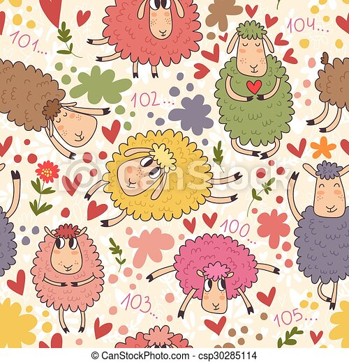 Seamless Pattern With Cute Sheep On Clouds Can Be Used For Wallpaper Fills Web Page Backgrounds Surface Textures