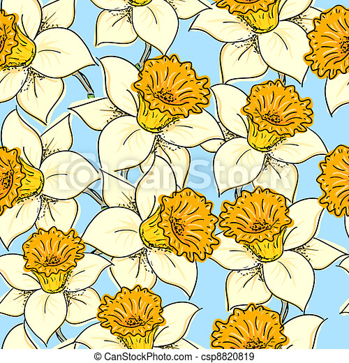 Seamless pattern with daffodil - csp8820819
