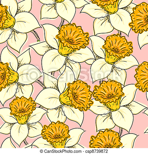 Seamless pattern with daffodil - csp8739872
