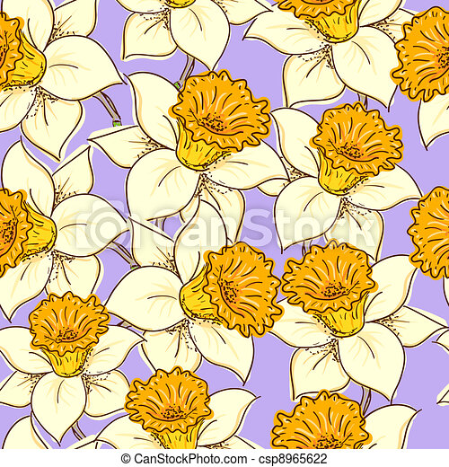Seamless pattern with daffodil - csp8965622