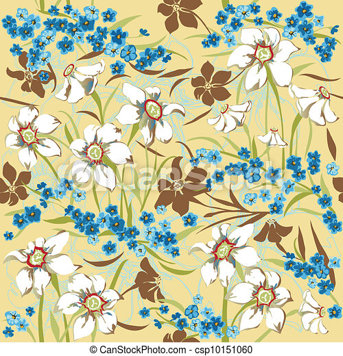 Seamless pattern with daffodils - csp10151060