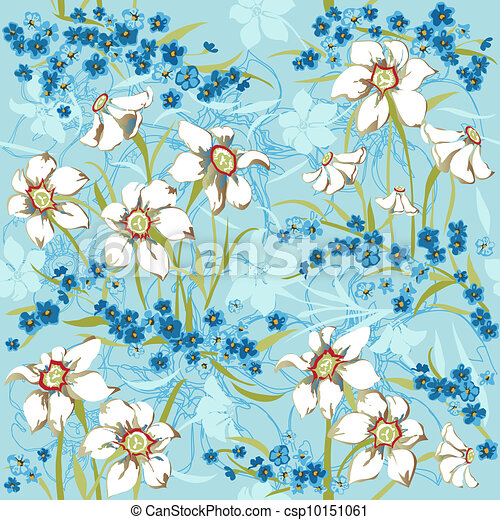 Seamless pattern with daffodils - csp10151061