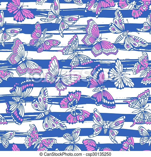 Seamless pattern with decorative butterflies. - csp30135250