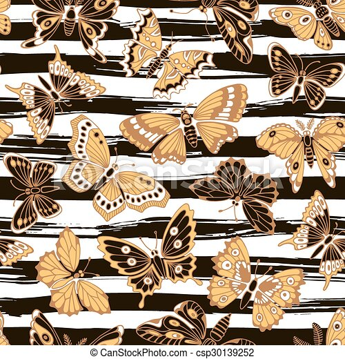 Seamless pattern with decorative butterflies. - csp30139252