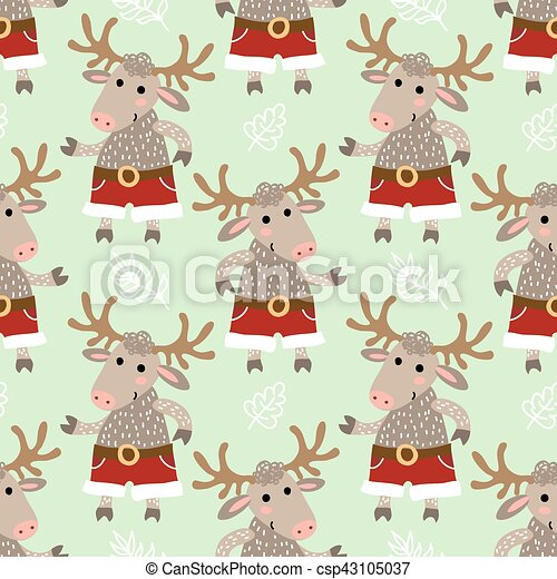 Seamless pattern with deer - csp43105037
