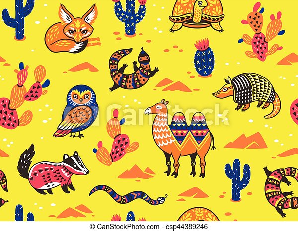 Seamless Pattern With Desert Animals Seamless Pattern Of Desert
