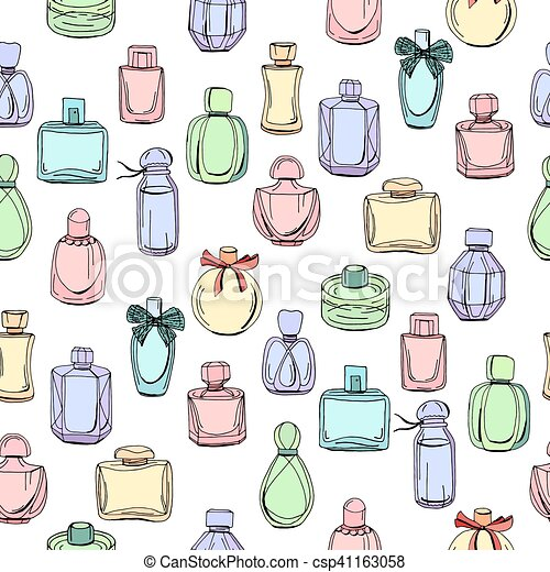 Seamless pattern with different bottles of woman perfume.  Endless texture for fashion design,wrappings,fabrics. - csp41163058