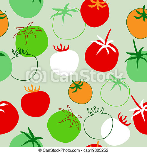 Seamless pattern with different tomatoes - csp19805252