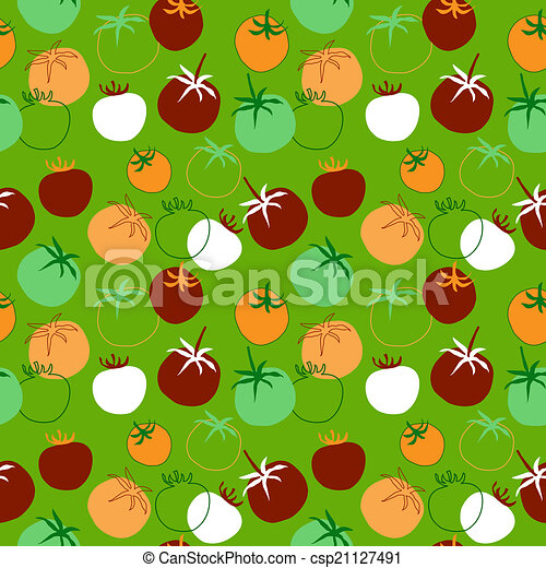 Seamless pattern with different tomatoes - csp21127491