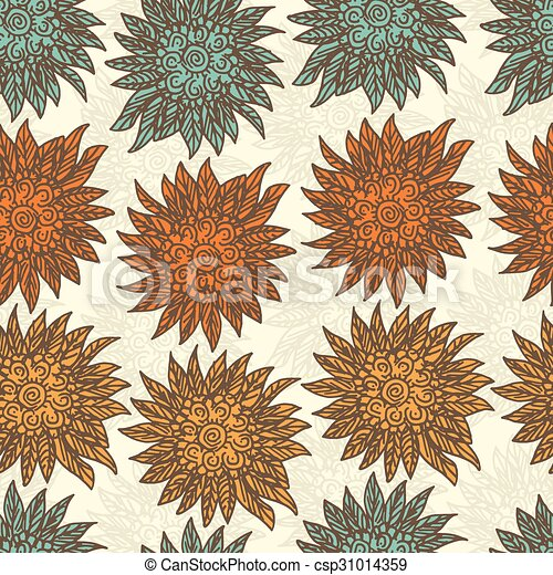 Seamless pattern with doodle flowers - csp31014359