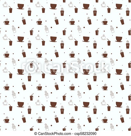Seamless pattern with drink tea and coffee cups. Coffee break tiling background. - csp58232090