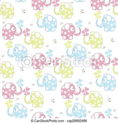 Seamless pattern with elephants - csp28992486