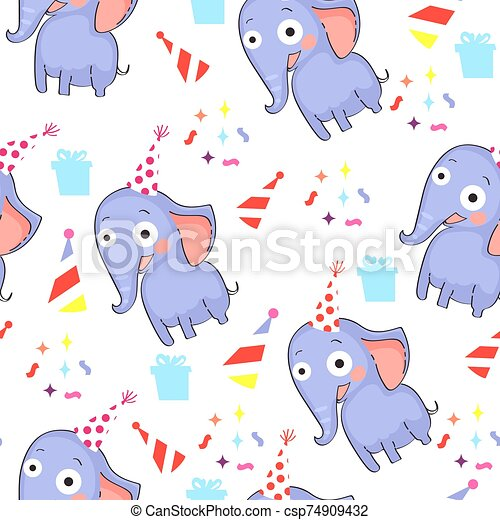 Seamless pattern with elephants - csp74909432