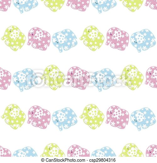 Seamless pattern with elephants - csp29804316