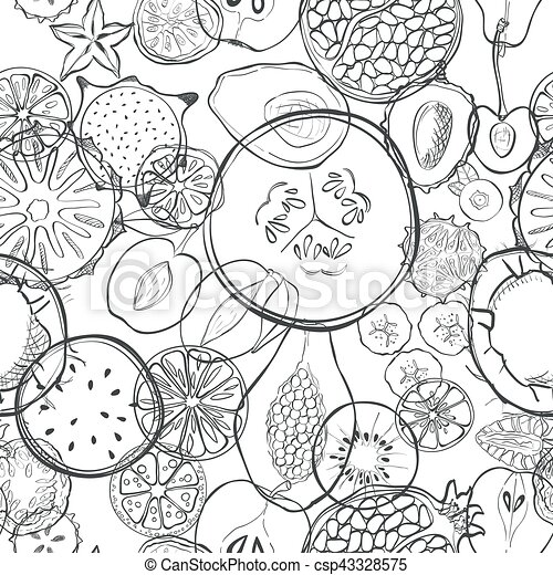 Seamless pattern with exotic fresh fruits
