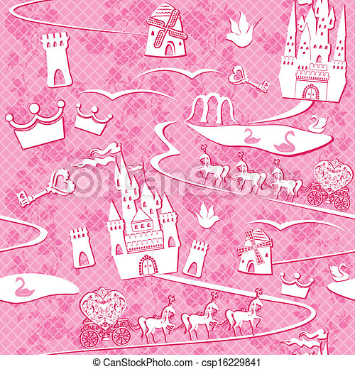 seamless pattern with fairytale land - castles, lakes, roads, mills,carriages and horses - Pink princess background - csp16229841