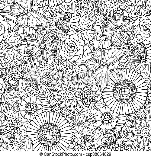 Seamless Pattern With Flowers And Butterfly Ornate Zentangle