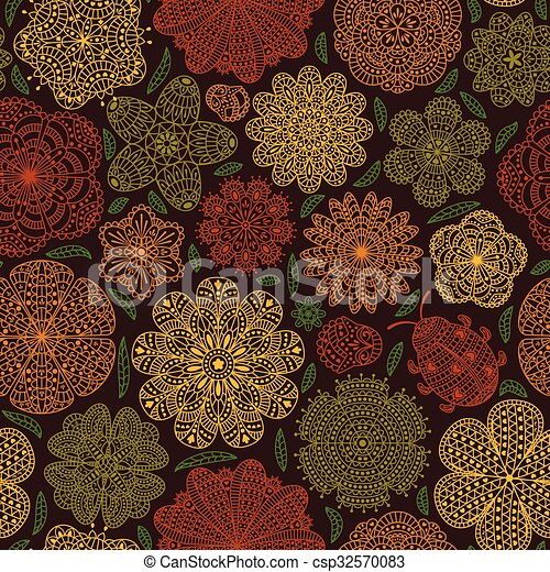 Seamless pattern with flowers - csp32570083