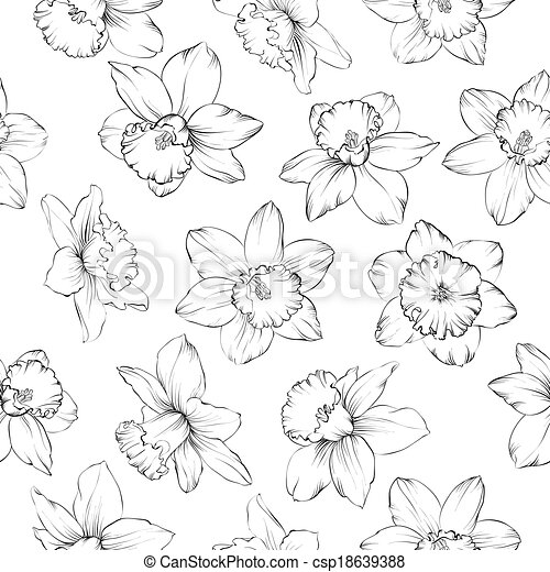 Seamless pattern with flowers narcissus. - csp18639388