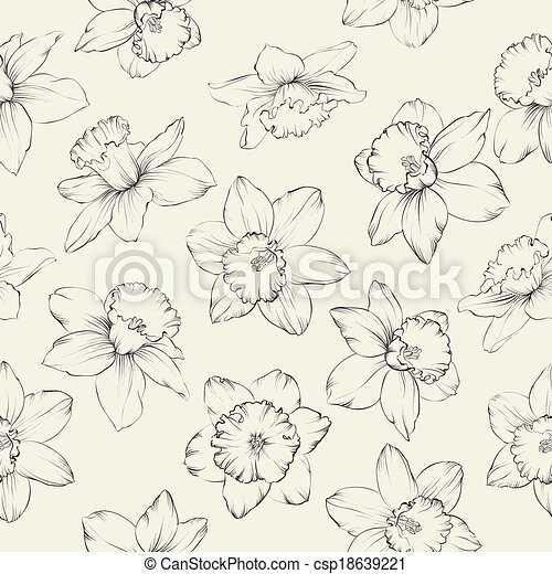 Seamless pattern with flowers narcissus. - csp18639221