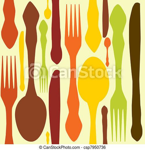 seamless pattern with forks, spoons end knifes. Vector illustration. - csp7950736