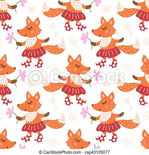 Seamless pattern with fox - csp43105077