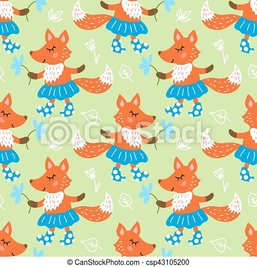 Seamless pattern with fox - csp43105200