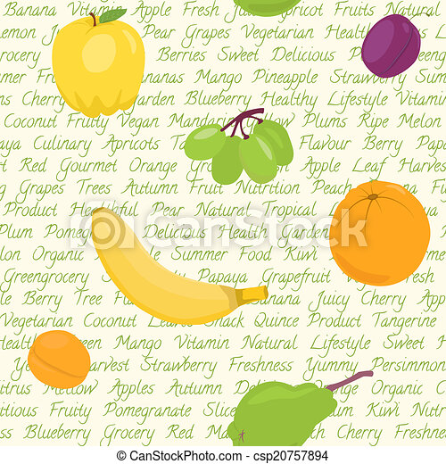 Seamless pattern with fruits and text - csp20757894